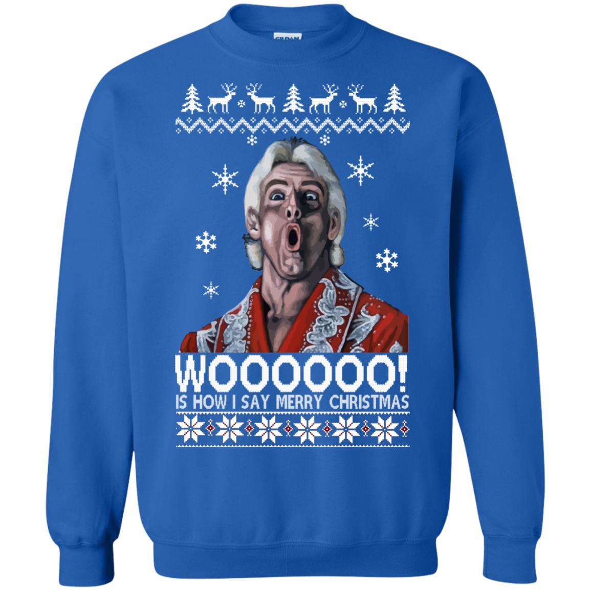 image 1645 - Green Ric Flair WOO Christmas Sweater, Ugly Sweatshirt
