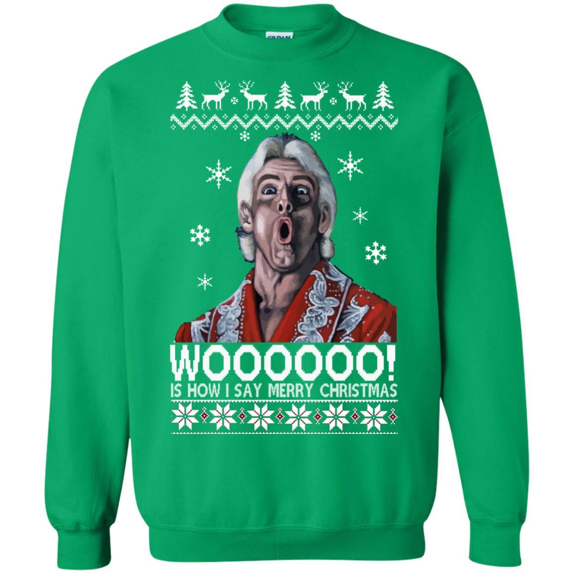 green ric flair woo christmas sweater ugly sweatshirt