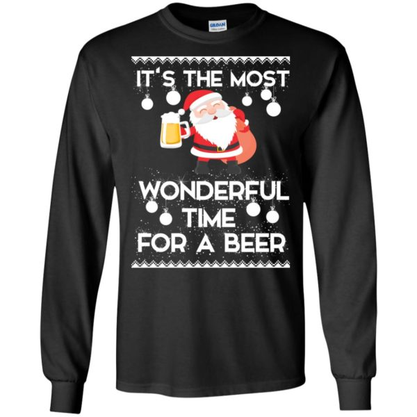 image 1696 600x600 - Santa It's The Most Wonderful Time For A Beer Christmas Sweatshirt
