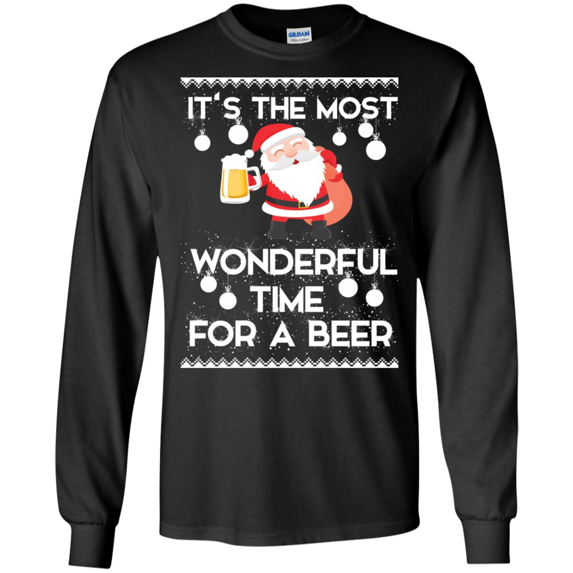 image 1696 - Santa It's The Most Wonderful Time For A Beer Christmas Sweatshirt