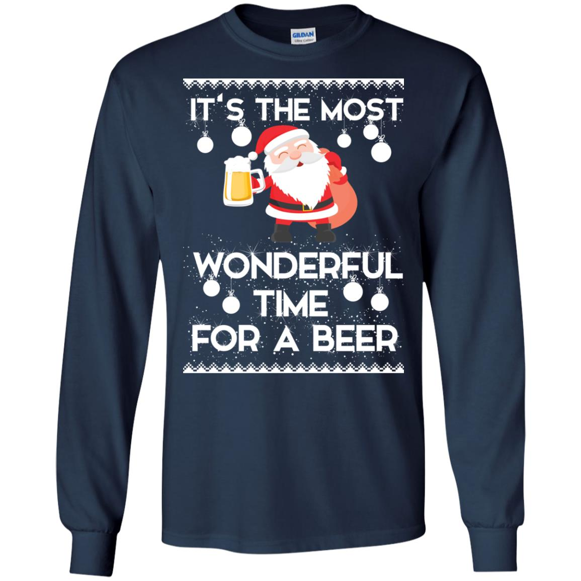 image 1697 - Santa It's The Most Wonderful Time For A Beer Christmas Sweatshirt