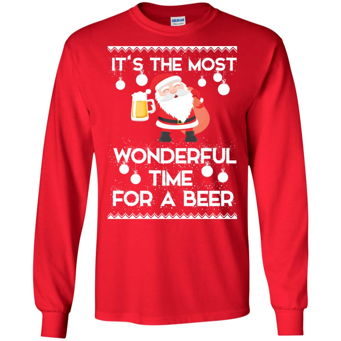 image 1698 - Santa It's The Most Wonderful Time For A Beer Christmas Sweatshirt