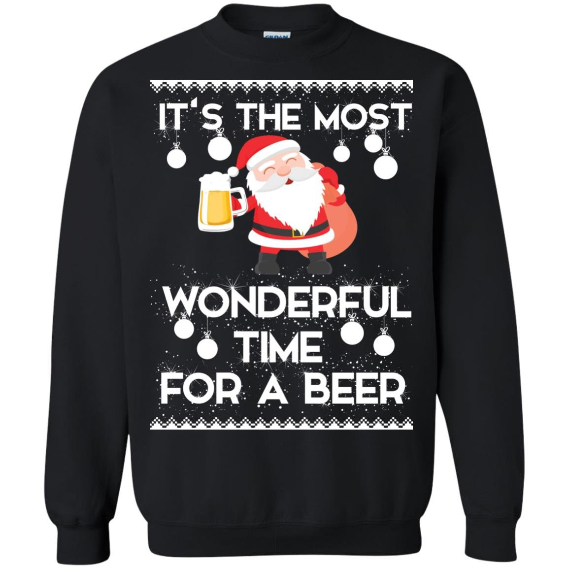 image 1702 - Santa It's The Most Wonderful Time For A Beer Christmas Sweatshirt