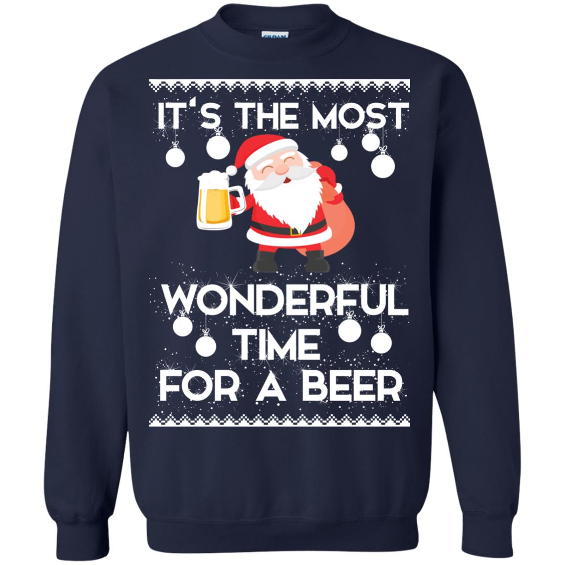 image 1703 - Santa It's The Most Wonderful Time For A Beer Christmas Sweatshirt