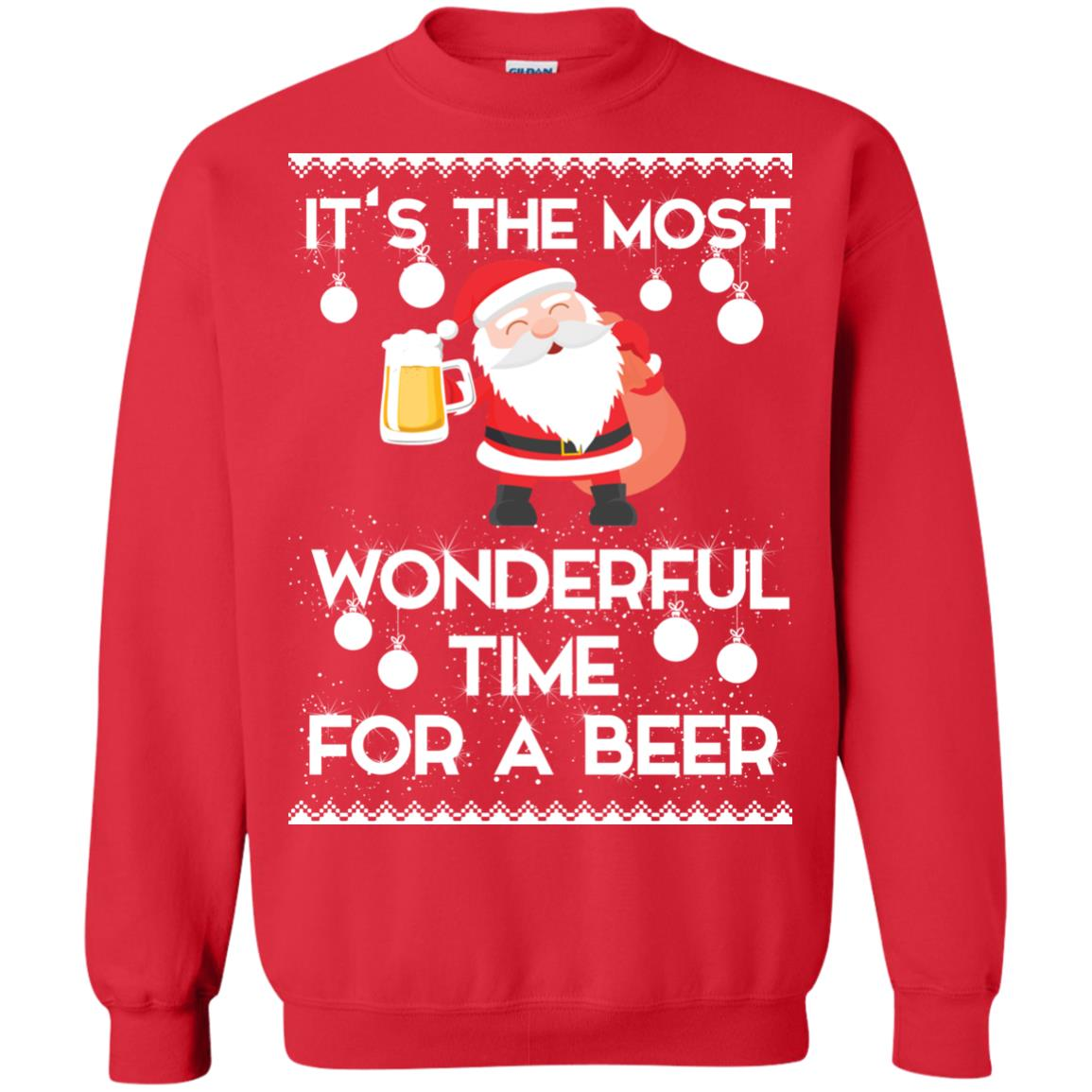 image 1704 - Santa It's The Most Wonderful Time For A Beer Christmas Sweatshirt