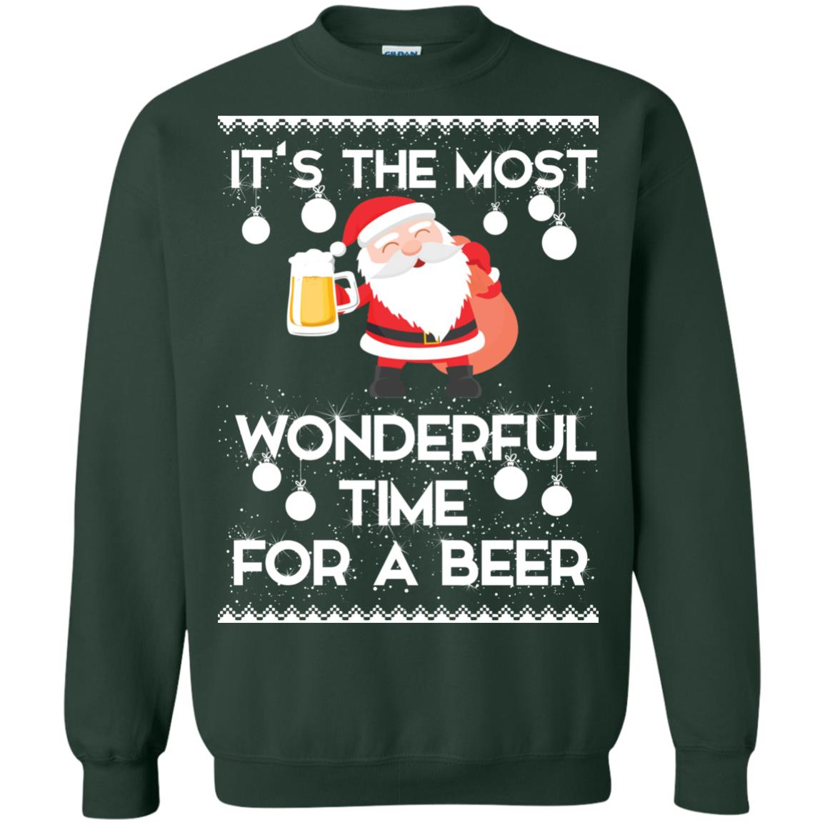 image 1705 - Santa It's The Most Wonderful Time For A Beer Christmas Sweatshirt