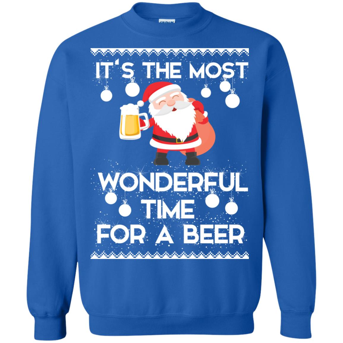 image 1706 - Santa It's The Most Wonderful Time For A Beer Christmas Sweatshirt