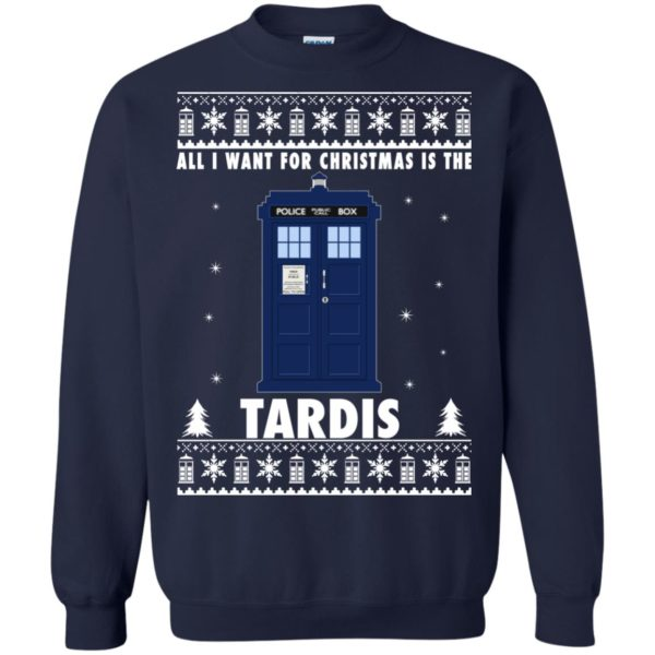 image 1921 600x600 - All I Want For Christmas Is The Tardis Ugly Sweater, Hoodie