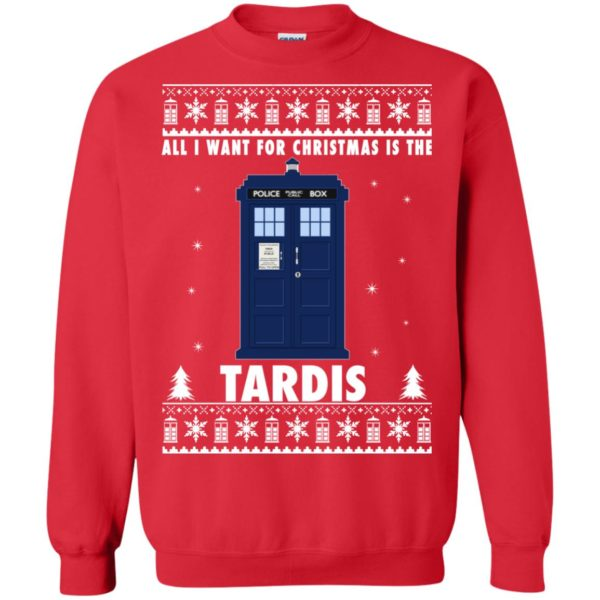 image 1922 600x600 - All I Want For Christmas Is The Tardis Ugly Sweater, Hoodie