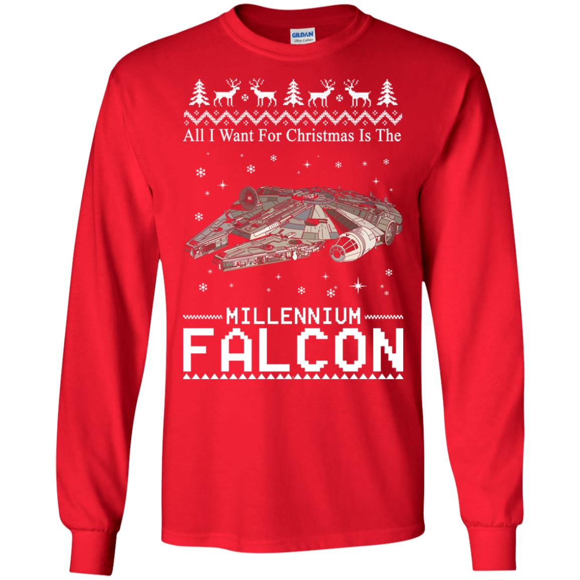image 2133 - All I Want For Christmas is The Millennium Falcon Sweater, Ugly Sweatshirt