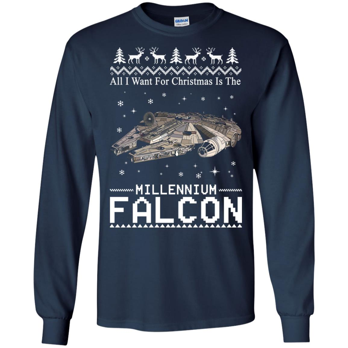 image 2134 - All I Want For Christmas is The Millennium Falcon Sweater, Ugly Sweatshirt