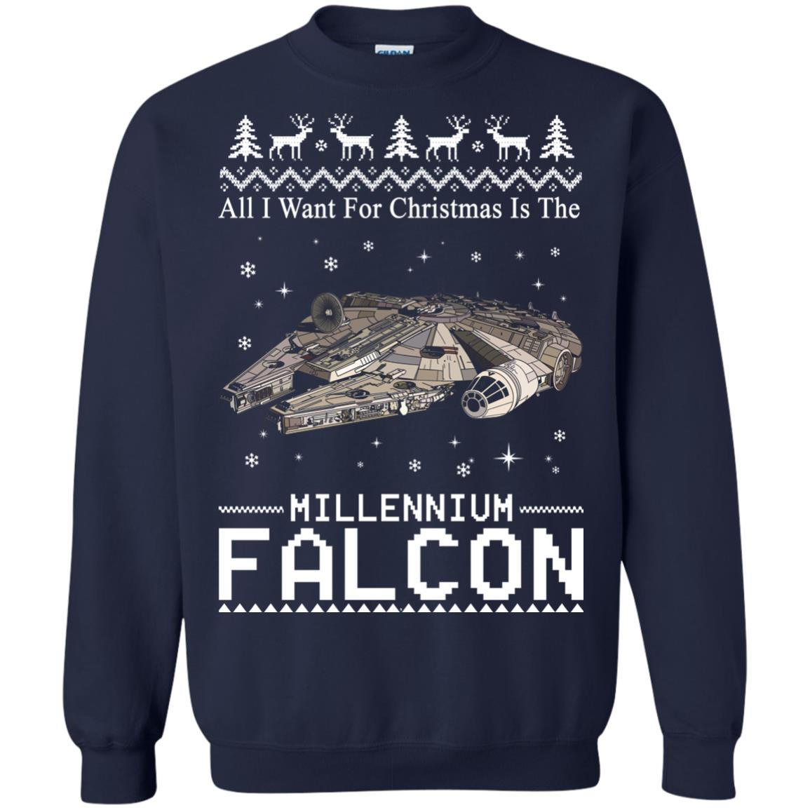 image 2139 - All I Want For Christmas is The Millennium Falcon Sweater, Ugly Sweatshirt