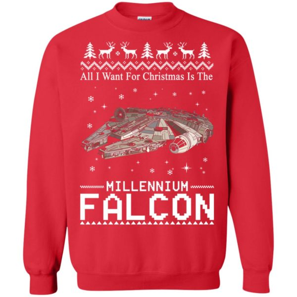 image 2140 600x600 - All I Want For Christmas is The Millennium Falcon Sweater, Ugly Sweatshirt