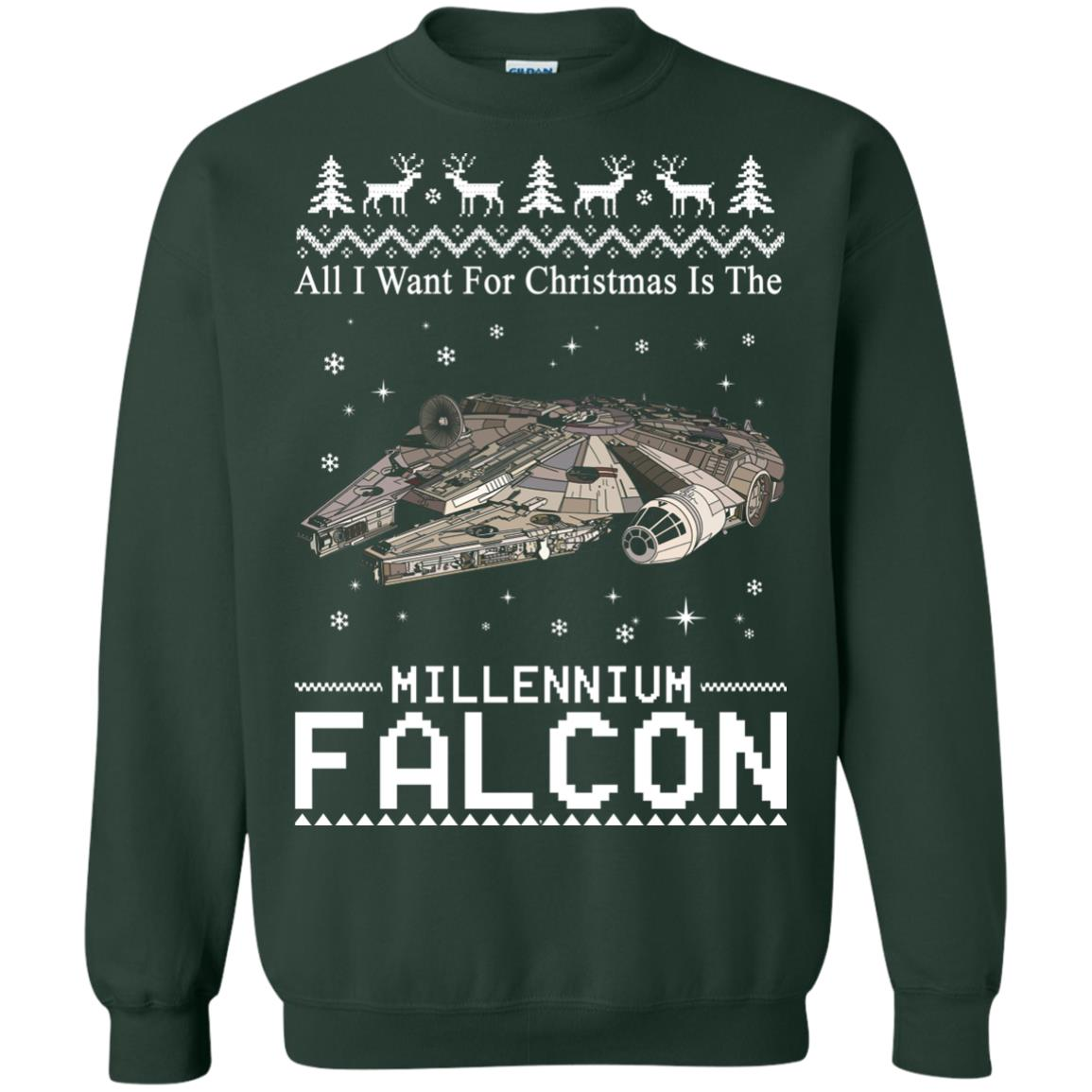 image 2141 - All I Want For Christmas is The Millennium Falcon Sweater, Ugly Sweatshirt