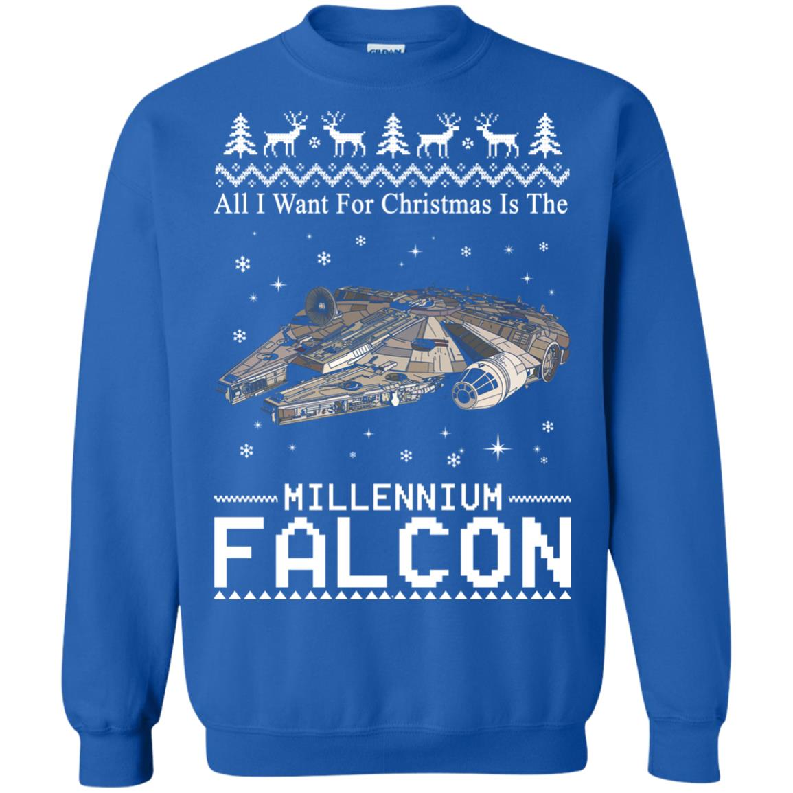 image 2142 - All I Want For Christmas is The Millennium Falcon Sweater, Ugly Sweatshirt