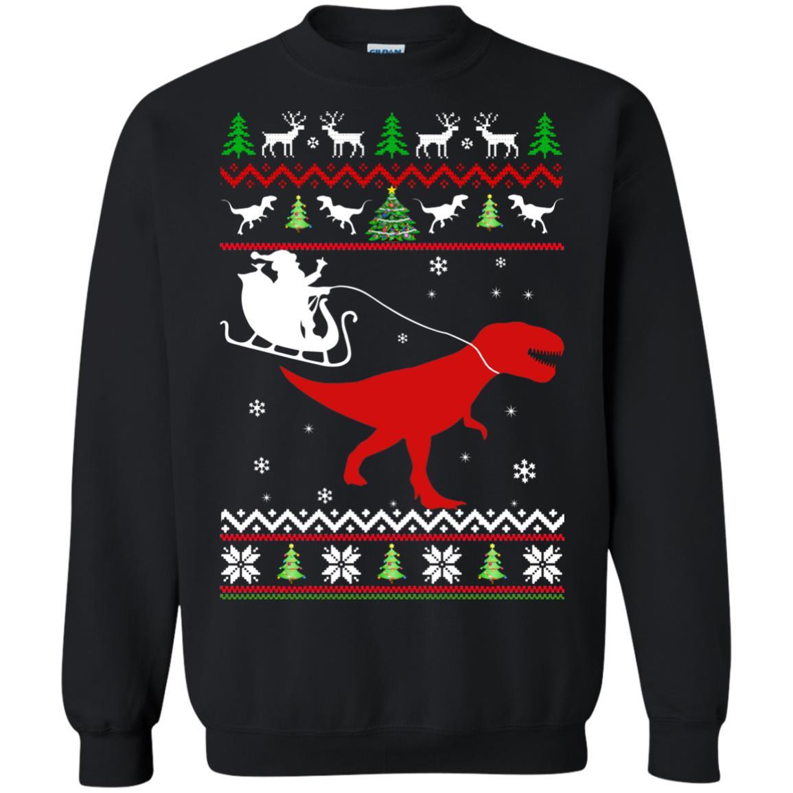 Dinosaur Christmas Sweater.Santa Rides T Rex Sweater Christmas Santa Rides Dinosaur Ugly Sweater