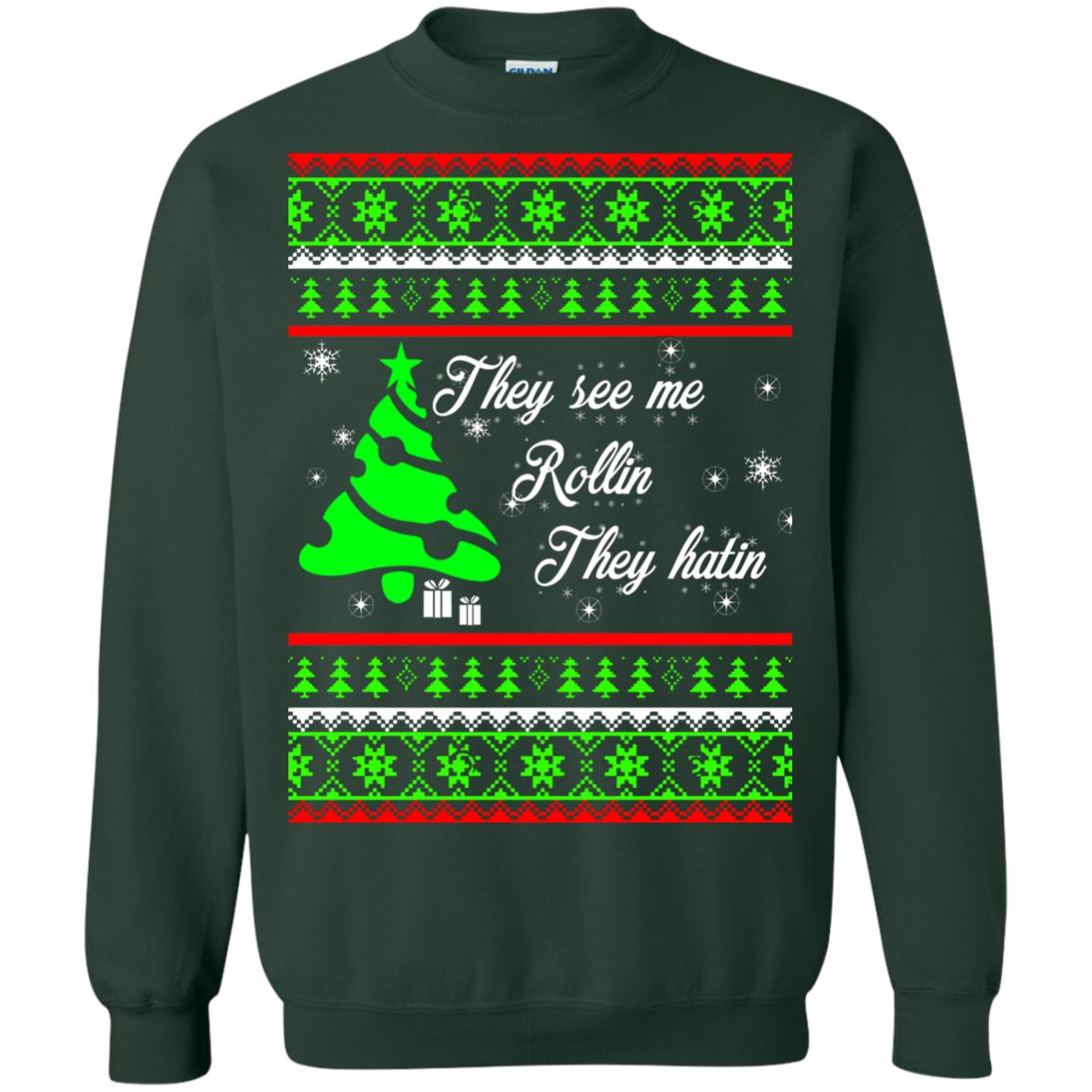 image 3845 - They See Me Rollin They Hatin Christmas Sweater, Shirt