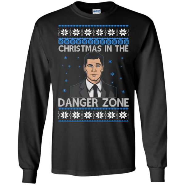 image 385 600x600 - Archer Christmas In The Danger Zone Ugly Sweater, Shirt, Long Sleeve