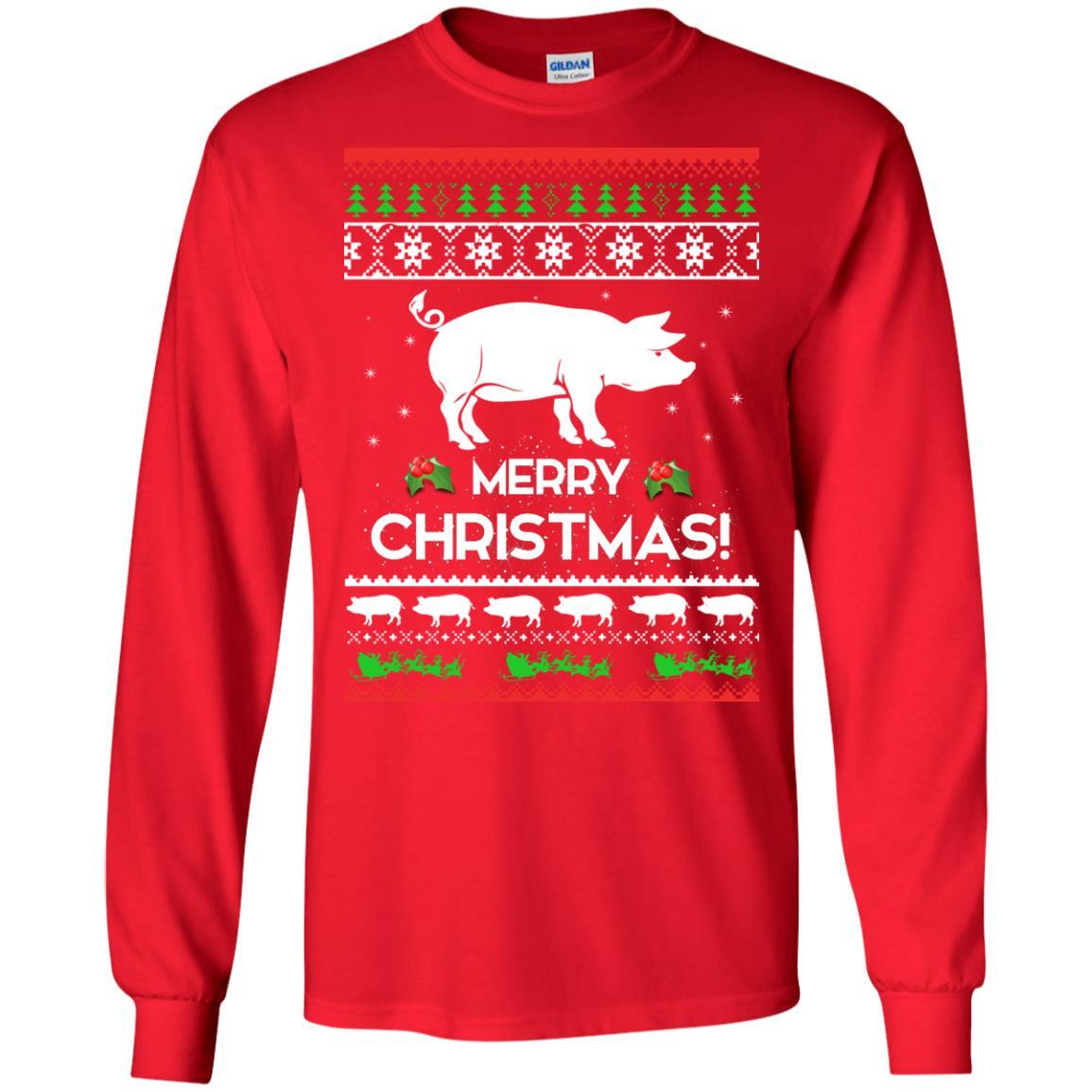 image 3874 - Merry Pigmas Christmas Pig Ugly Sweater, Shirt