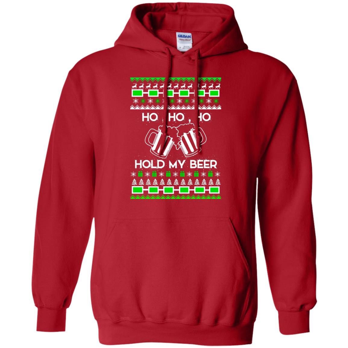 Ho Ho Ho Hold My Beer Christmas Sweater, Hoodie - Rockatee