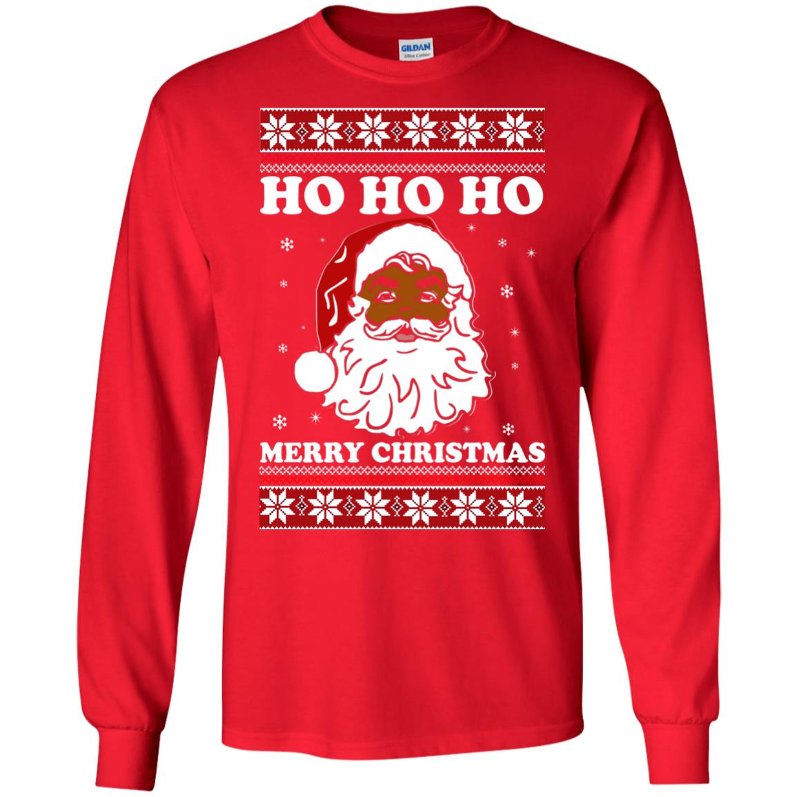 Black Santa Ho Ho Ho Merry Christmas Sweater, Long Sleeve - Rockatee