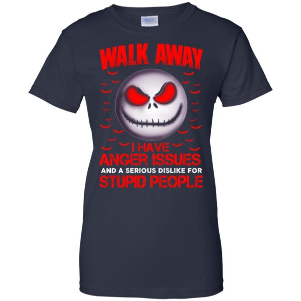 image 576 600x600 - Jack Skellington: Walk away i have anger issues and a serious dislike for stupid people shirt, hoodie