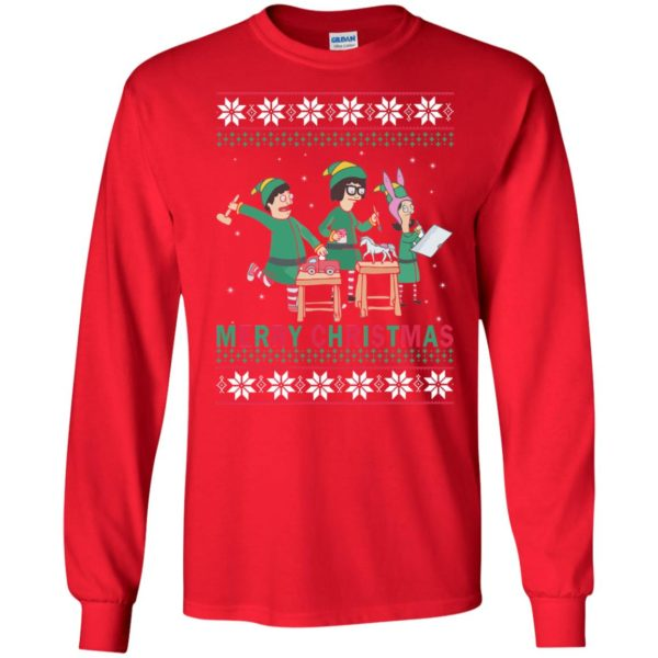 image 6572 600x600 - Bob's Burgers Family Elf Merry Christmas Ugly Sweater, Hoodie