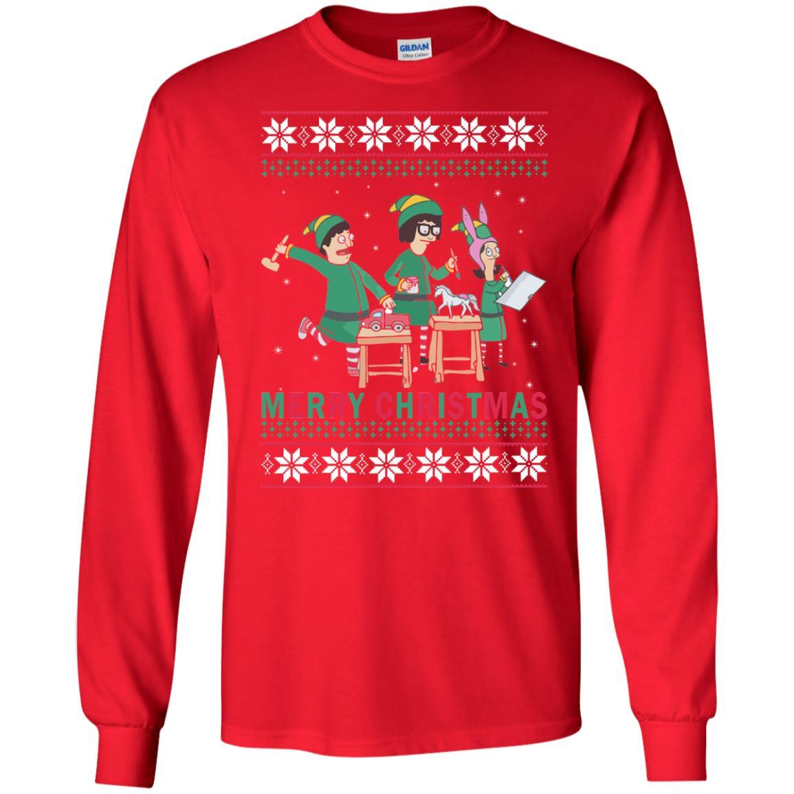 Bobs Burgers Family Elf Merry Christmas Ugly Sweater Hoodie Rockatee