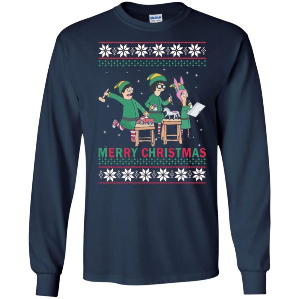 image 6573 600x600 - Bob's Burgers Family Elf Merry Christmas Ugly Sweater, Hoodie