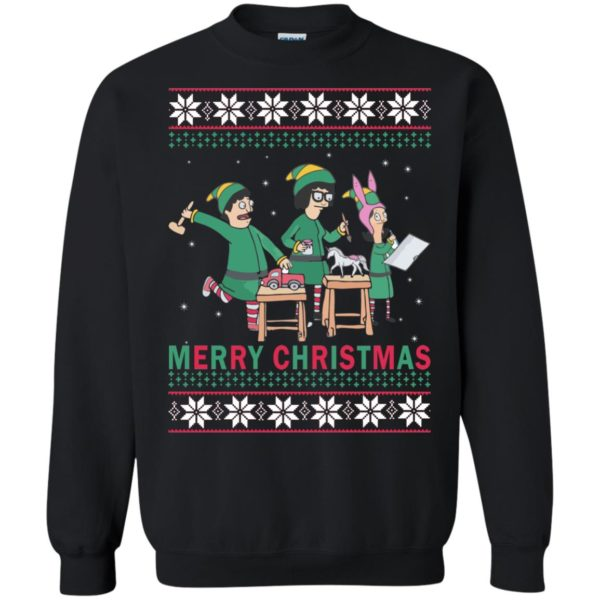 image 6576 600x600 - Bob's Burgers Family Elf Merry Christmas Ugly Sweater, Hoodie