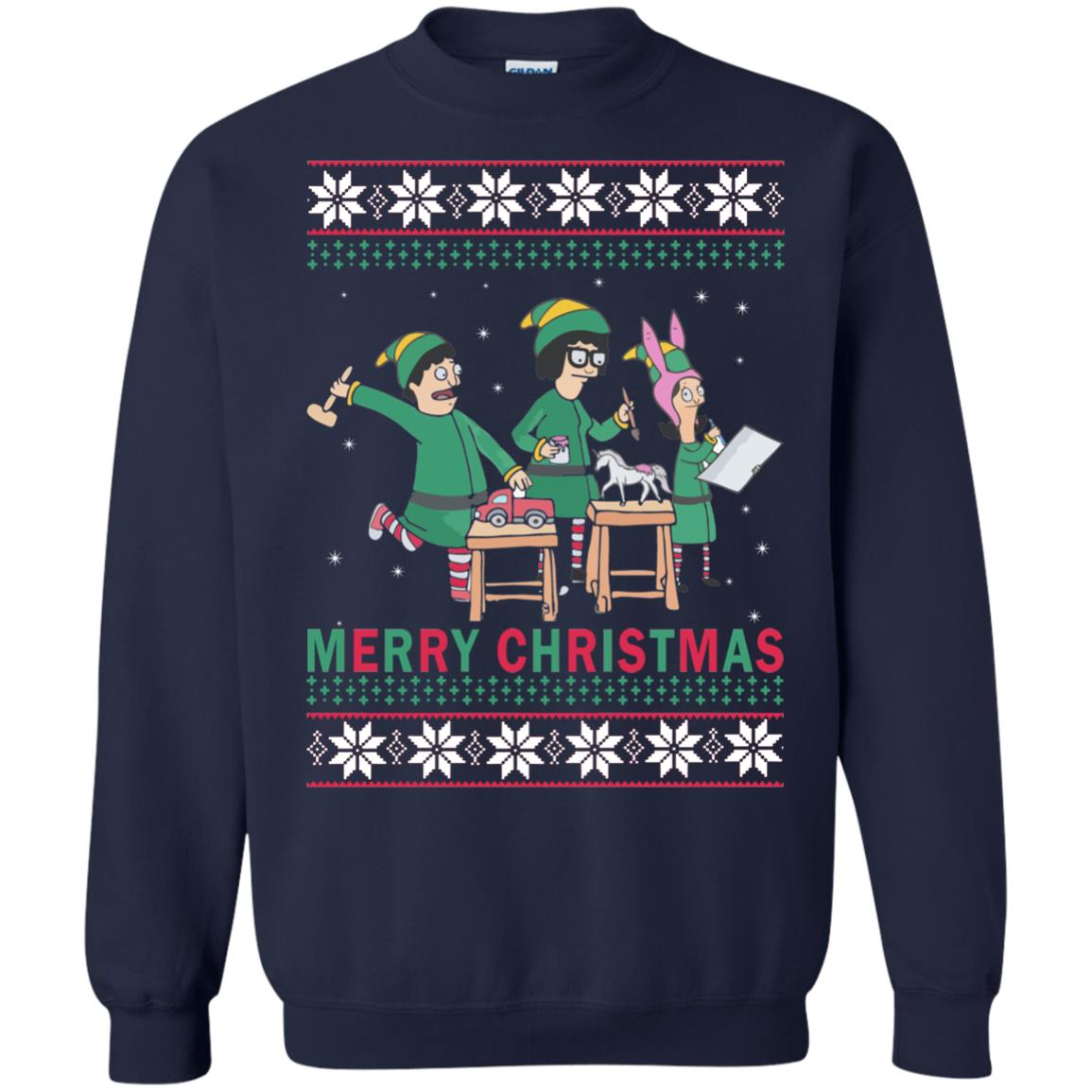 image 6577 - Bob's Burgers Family Elf Merry Christmas Ugly Sweater, Hoodie