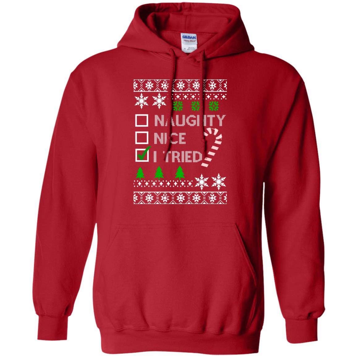 image 765 - Naughty Nice Tired Christmas Sweater, Shirt