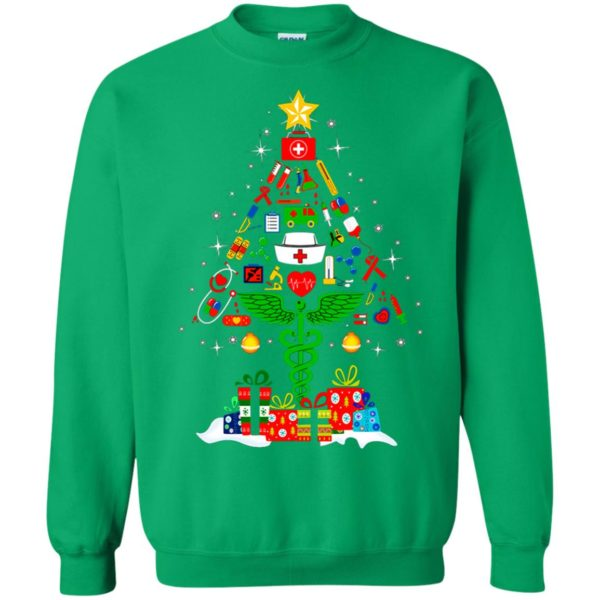 image 100 600x600 - Nurse Christmas Tree sweater, hoodie, long sleeve