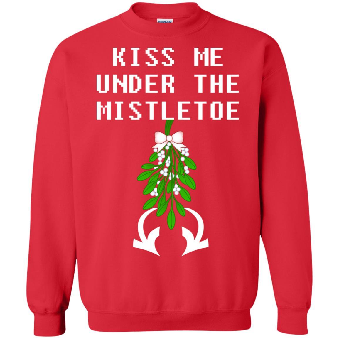 Kiss Me Under The Mistletoe Christmas Sweater, Hoodie - Rockatee