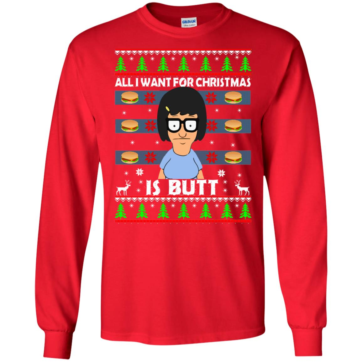 image 139 - Bob's Burgers: All I Want for Xmas is Butt Christmas Sweater, Hoodie