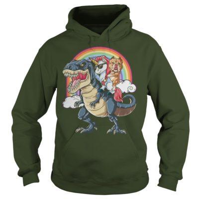 Bulldog and Unicorn ridding T Rex hoodie 400x400 - Bulldog and Unicorn ridding T-Rex shirt, guys tee, ladies tee