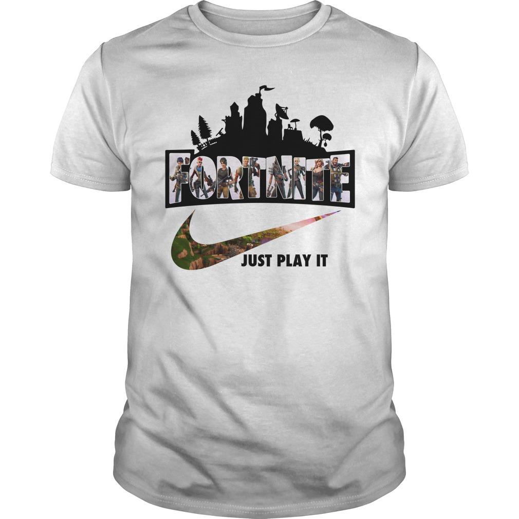 Fortnite Just Play It Shirt Guys Tee Ladies Hoodie Rockatee