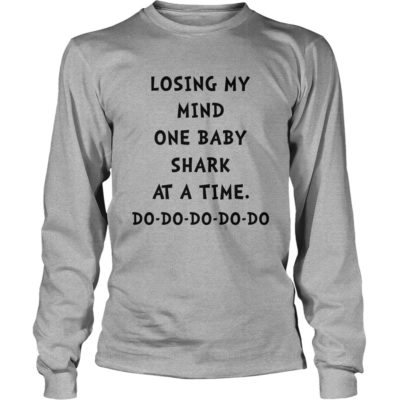 90178 1535220174445 Gildan Lon Sports Grey  w98  front 400x400 - Losing my mind one baby shark at a time do do do shirt, hoodie