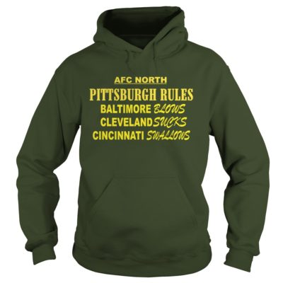 333 2 400x400 - AFC North Pittsburgh Rules Baltimore Blows Cleveland Suck t-shirt, hoodie
