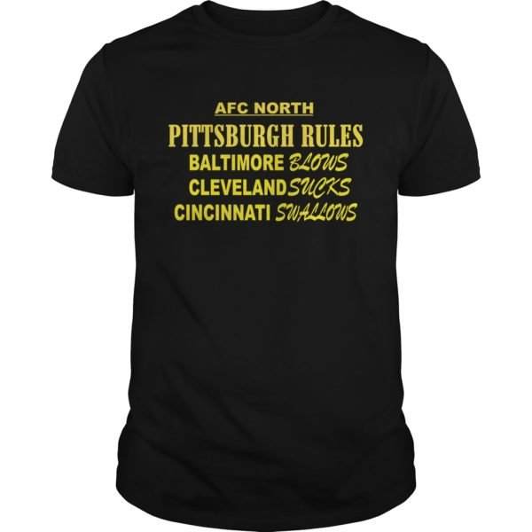 AFC North Pittsburgh Rules Baltimore Blows Cleveland Suck t shirt 600x600 - AFC North Pittsburgh Rules Baltimore Blows Cleveland Suck t-shirt, hoodie