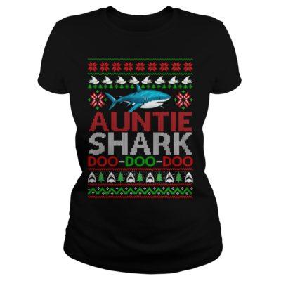 Auntie Shark doo doo doo Christmas ladies tee 400x400 - Auntie Shark doo doo doo Christmas sweatshirt, ladies tee, long sleeve
