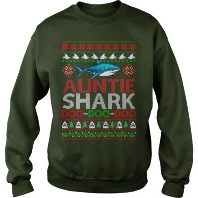 Auntie Shark doo doo doo Christmas sweater 400x400 - Auntie Shark doo doo doo Christmas sweatshirt, ladies tee, long sleeve