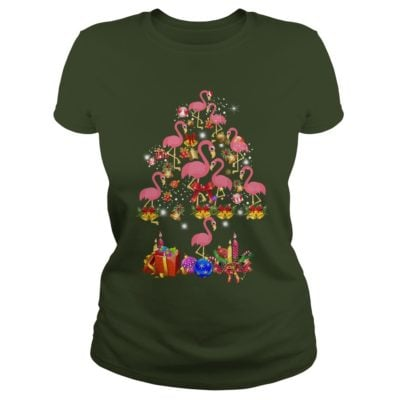 Pink Flamingo Christmas Tree ladies tee 400x400 - Flamingo Christmas Tree shirt, ladies tee, sweater, hoodie, LS