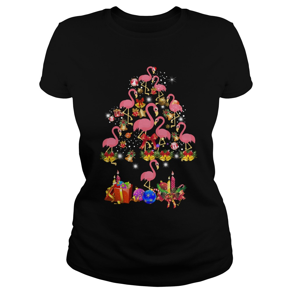 Flamingo Christmas Tree shirt, ladies tee, sweater, hoodie, LS ...
