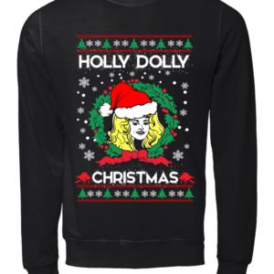 CHRISTMAS copy unisex sweatshirt jet black front 300x300 - Holly Dolly Christmas sweatshirt, guys tee, ladies tee, long sleeve