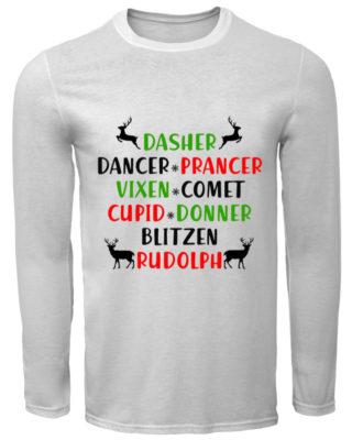 Dasher Dancer Prancer Vixen Comet Cupid Donner Blitzen Rudolph long sleeve 320x400 - Dasher Dancer Prancer Vixen Comet Cupid Donner Blitzen Rudolph shirt