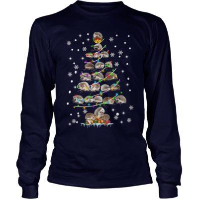 Hedgehog Christmas Sweater.Hedgehog Christmas Tree Sweater Long Sleeve Ladies Tee Hoodie