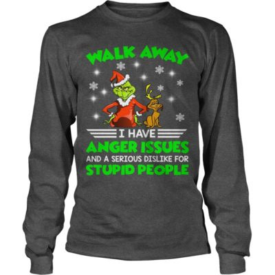 The Grinch Walk away I have anger Issues and a serious Dislike for stupid people long sleeve 400x400 - The Grinch Walk away I have anger Issues Christmas sweater