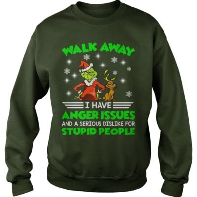 The Grinch Walk away I have anger Issues and a serious Dislike for stupid people sweater 400x400 - The Grinch Walk away I have anger Issues Christmas sweater
