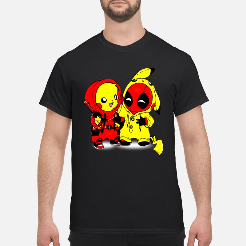 99bb1f723 deadpool pikachu shirt men s t shirt black front 600x600 - Pikachu Deadpool  baby shirt, hoodie